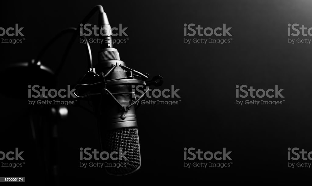 studio condenser microphone, copy space on right stock photo