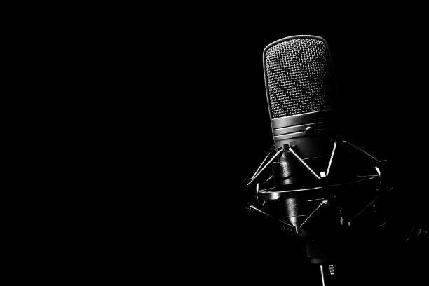 studio condenser microphone, isolated on black. copy space on left stock photo