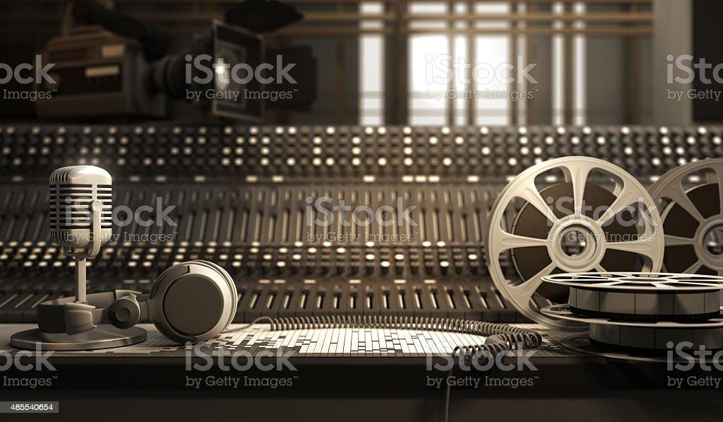 Studio equipment Reel with tape and studio equipment 2015 Stock Photo