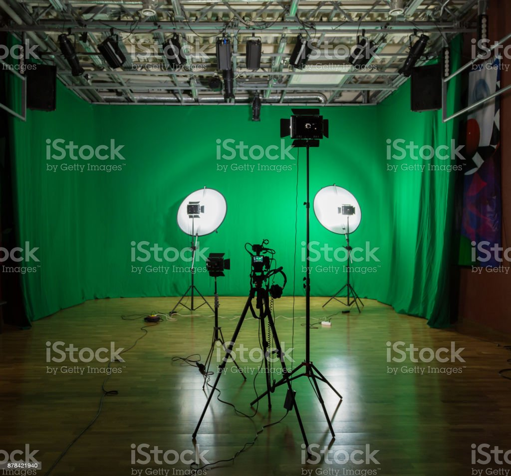 Studio For Filming On A Green Background The Chroma Key Lighting ...