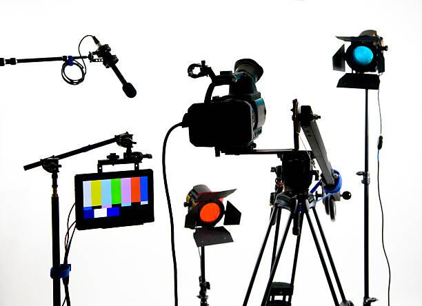 Studio gear on white stock photo