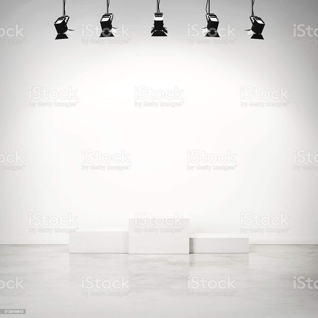 studio interior with white podium stock photo