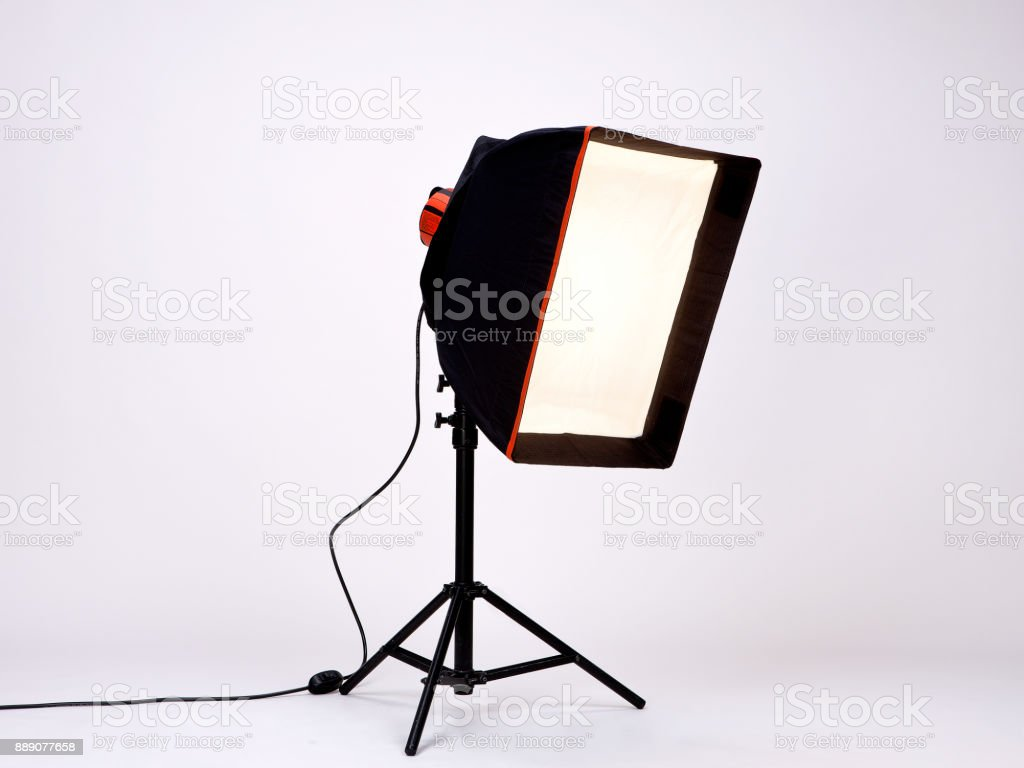 Black Studio Light used in Films or Movies on a metal stand isolated...