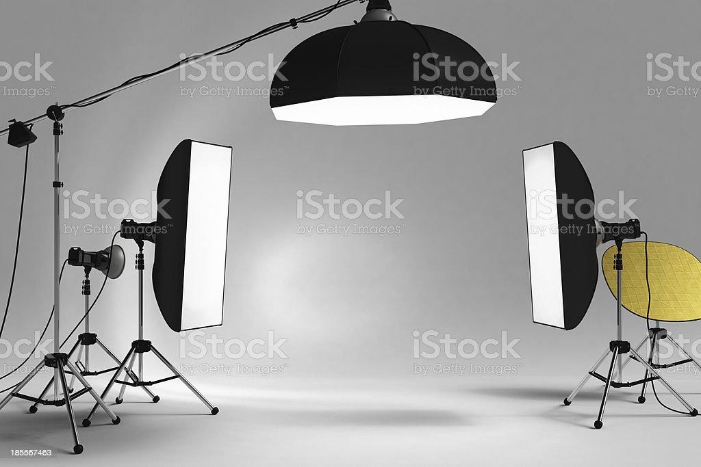 Studio Lighting Equipment Softbox stock photo