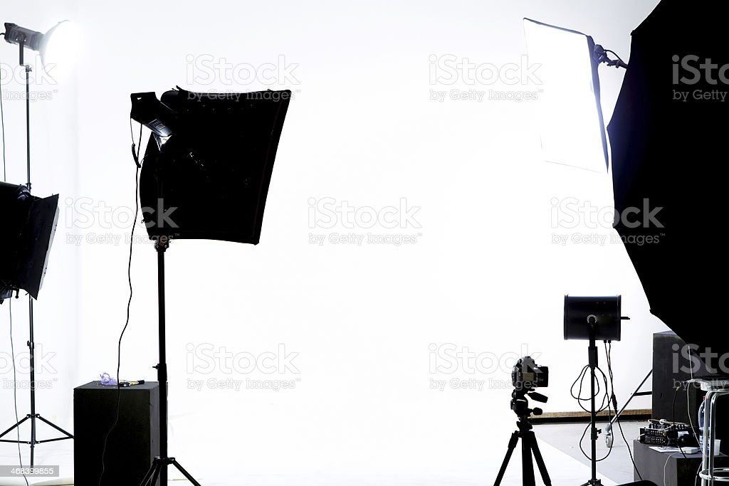 Studio lights in front of a white background stock photo