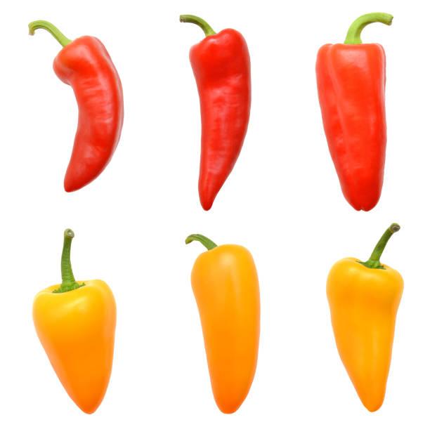 studio macro of three sweet mini-peppers against a white background. - papryka słodka zdjęcia i obrazy z banku zdjęć