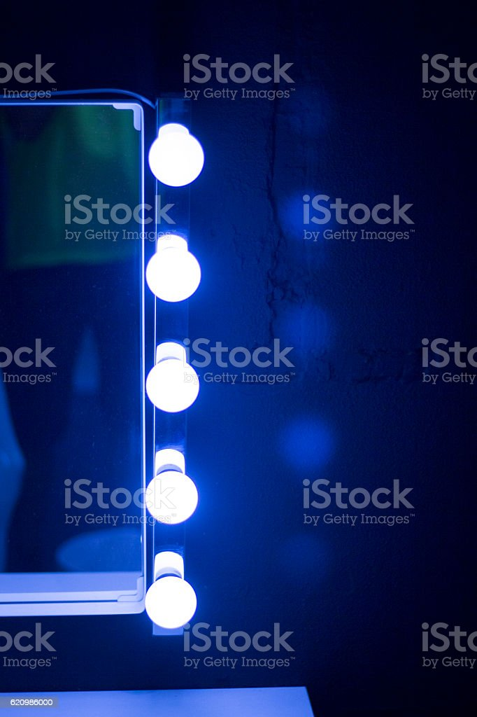 Studio makeup table mirror lights foto royalty-free