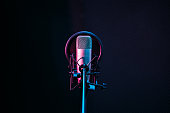 istock Studio microphone and pop shield on mic in the empty recording studio with copy space. Performance and show in the music business equipment. 1279654034