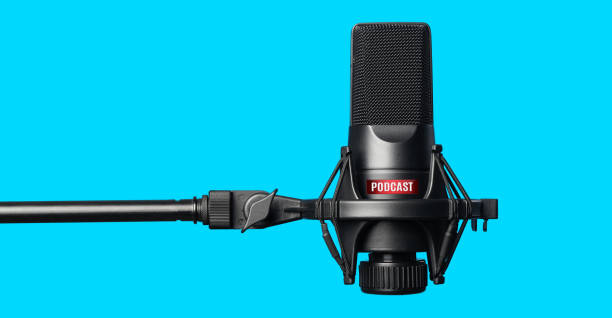 Studio microphone for recording podcasts Studio microphone for recording podcasts over blue background microphone stock pictures, royalty-free photos & images