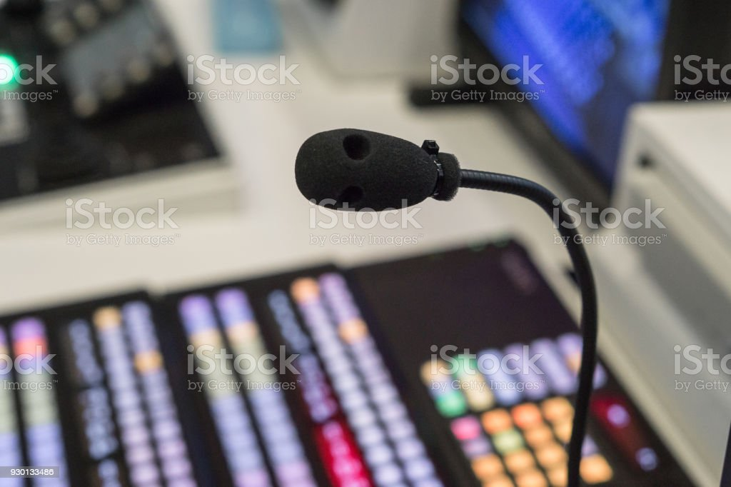 TV studio microphone., microphone in studio for voice actor, radio broadcasting, post production, recording, DJ concept., microphone in tv live broadcast studio. stock photo