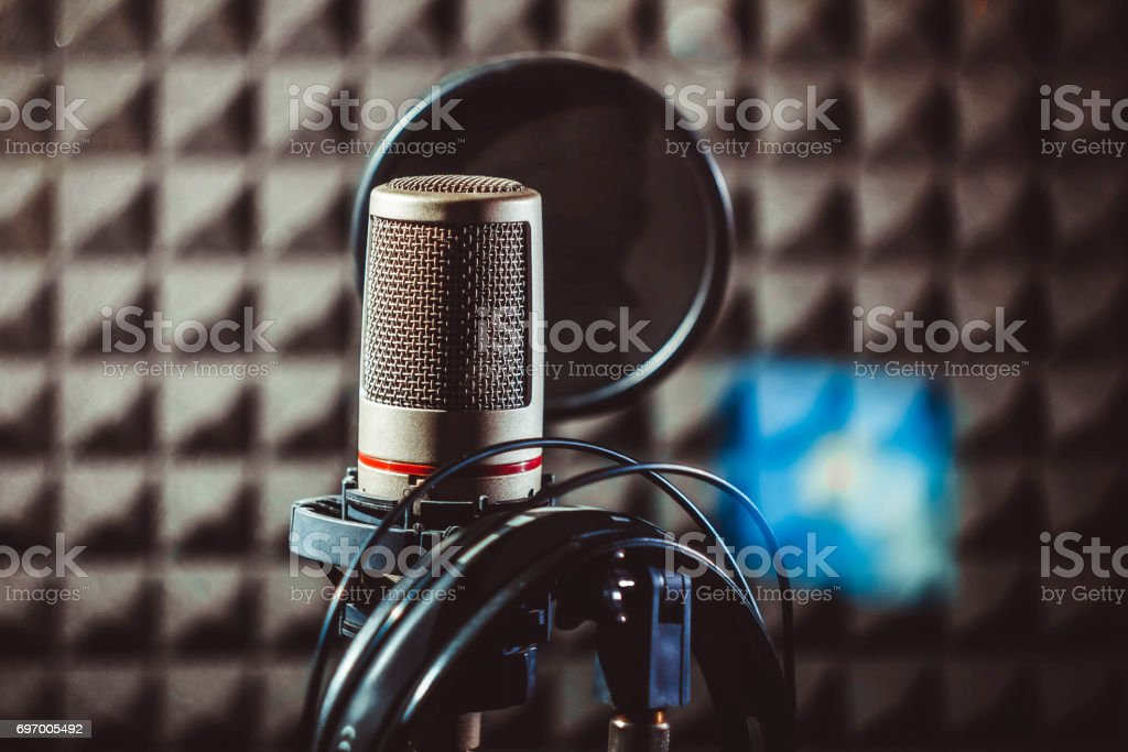 Studio microphone on the stand stock photo
