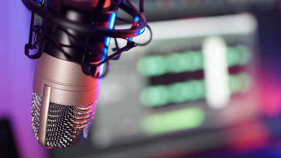 Podcast recording microphone in a studio