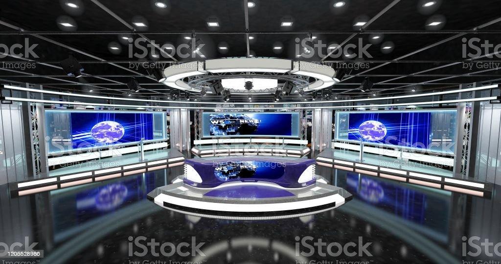 Tv Studio News Set 3d Rendering Stock Photo Download Image Now Istock