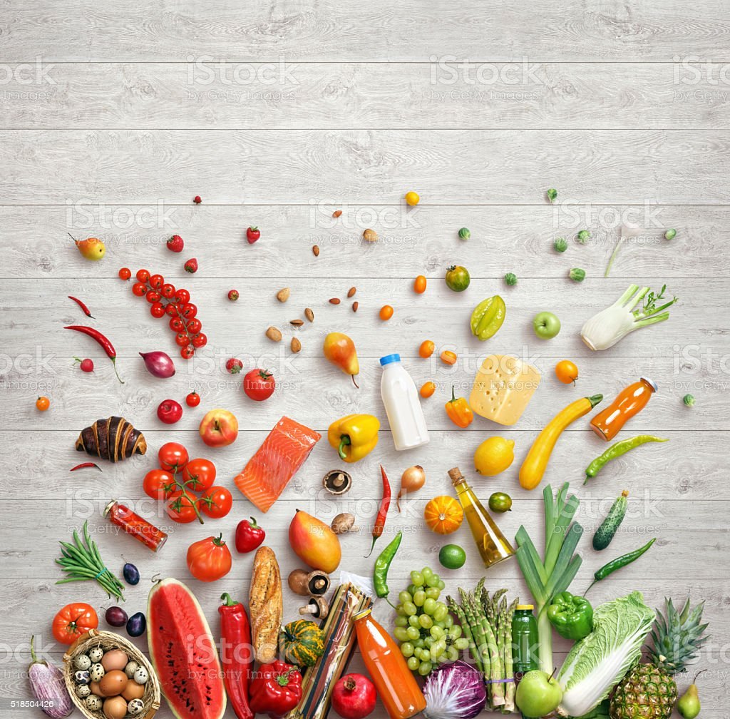 Studio photo of different fruits and vegetables stock photo