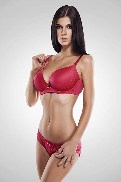 studio photo of posing sexy woman with nice lingerie stock photo