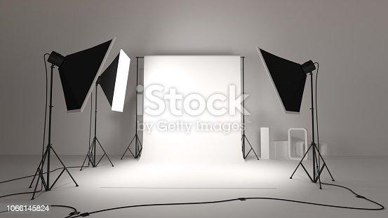 3d render of photo studio