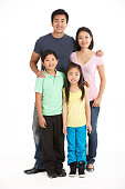 Full Length Studio Shot Of Chinese Family Standing Still Smiling At Camera