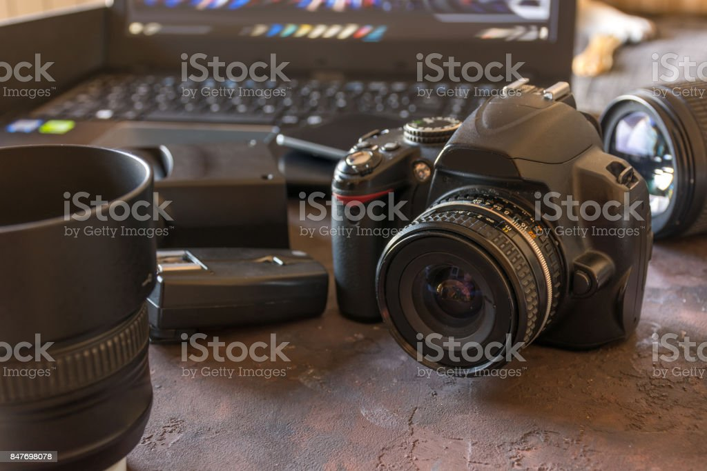 Studio Photography with computers, cameras and flash stock photo