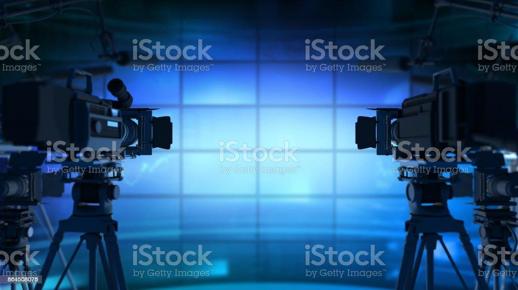 Studio News in Studio - 3d Rendering Breaking Stock Photo