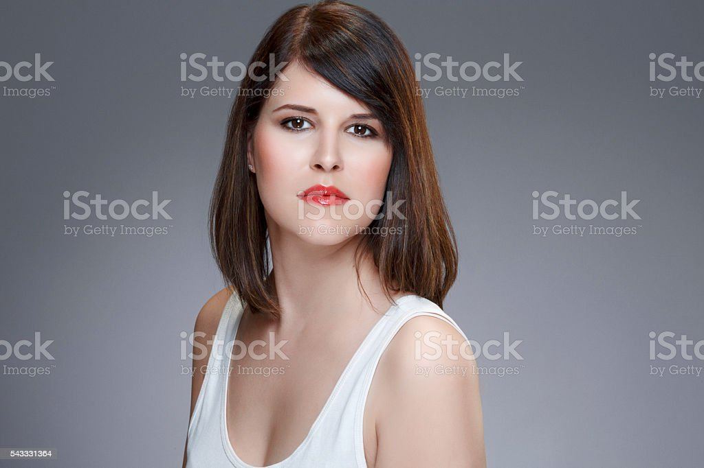 Studio portrait of a beautiful  young woman Natural beauty stock photo