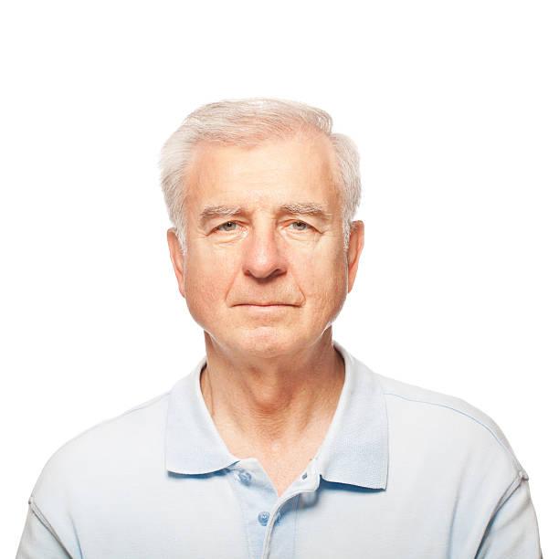 studio portrait of a senior man - sadece yaşlı bir adam stok fotoğraflar ve resimler
