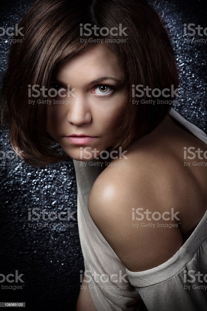 Studio portrait of a sensual young woman stock photo