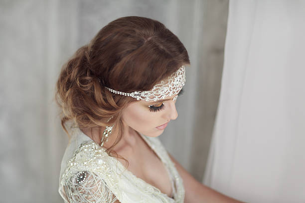 studio portrait of beautiful bride with perfect hairstyle and ma - diadem stock pictures, royalty-free photos & images