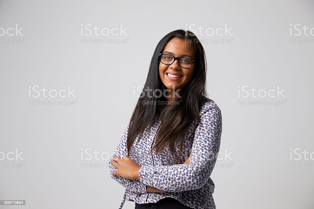 Studio Portrait Of Female Fashion Buyer Looking At Camera stock photo