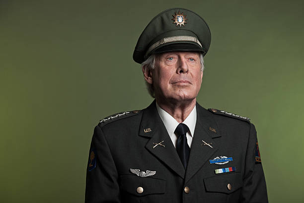 Studio portrait of military General in formal uniform Military general in uniform. Studio portrait. major military rank stock pictures, royalty-free photos & images