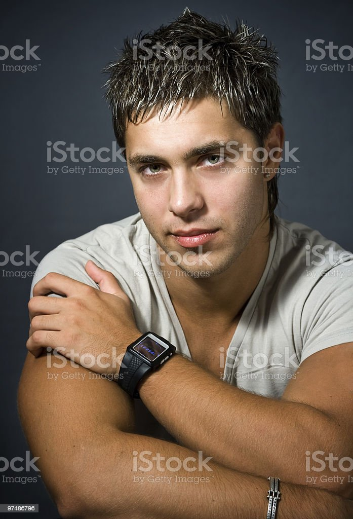 Studio portrait of sexy young man royalty-free stock photo