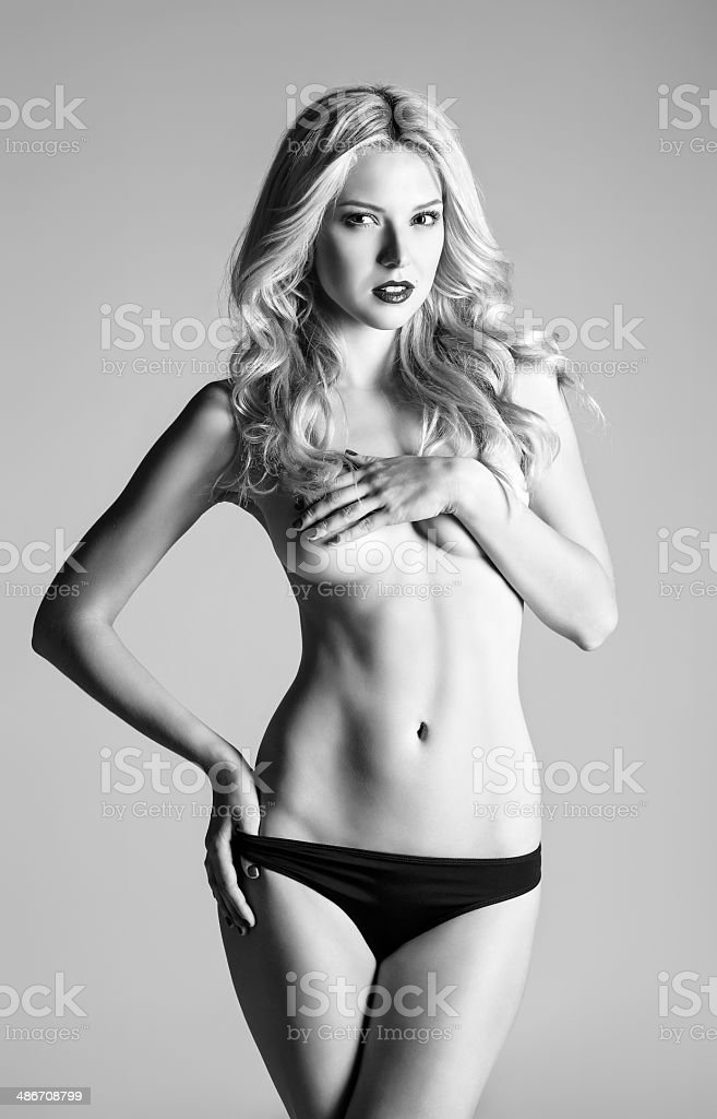 6d95cd6e2 Studio Portrait Of Sexy Young Woman In Panties Bw Stock Photo   More ...