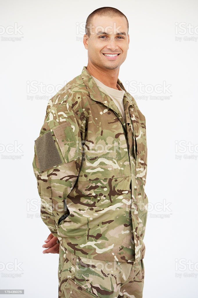 Studio Portrait Of Soldier Wearing Uniform royalty-free stock photo