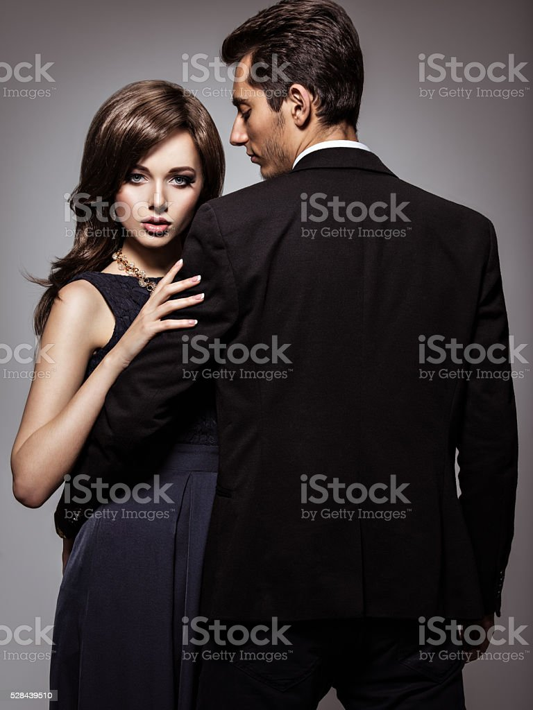 Studio portrait of young beautiful couple in love stock photo