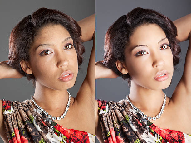 studio portrait retouch before and after - retouched image stock photos and pictures