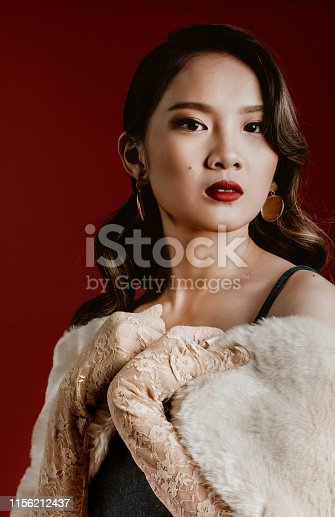 studio portrait shoot with vintage shanghai theme asian chinese female model