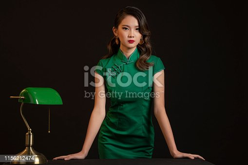 studio portrait shoot with vintage shanghai theme asian chinese female model