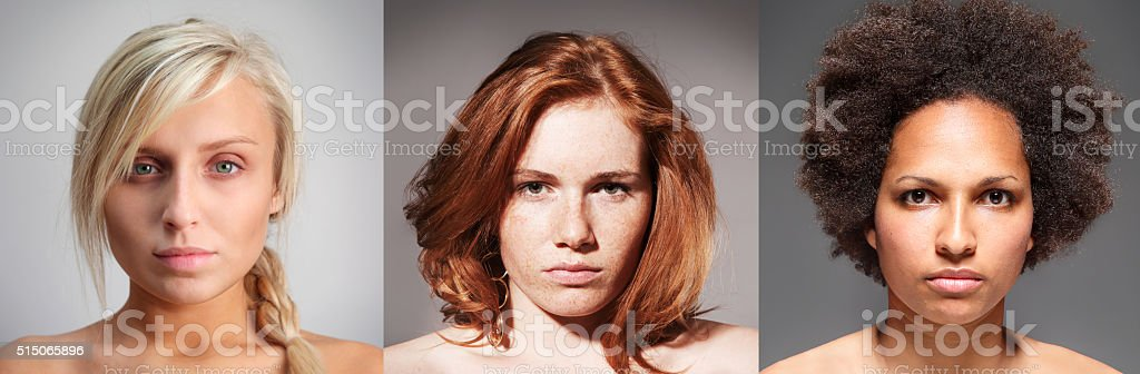 Studio portraits of three various types of young girls stock photo