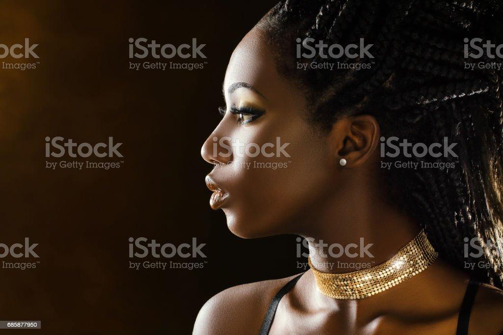 Studio profile beauty portrait of african girl. stock photo