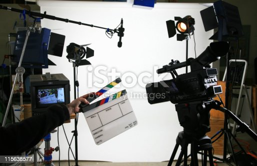 Studio setup with lights and camera with a blank slate ready to fill in with your production information