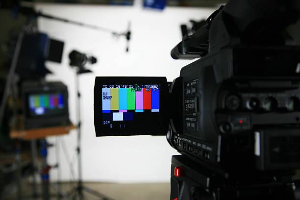 Studio setup 3 camera with viewfinder stock photo