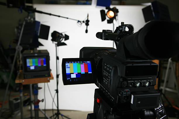 Studio setup 4 with video camera Studio setup with lights and camera. Add your image to the viewfinder performing arts event stock pictures, royalty-free photos & images