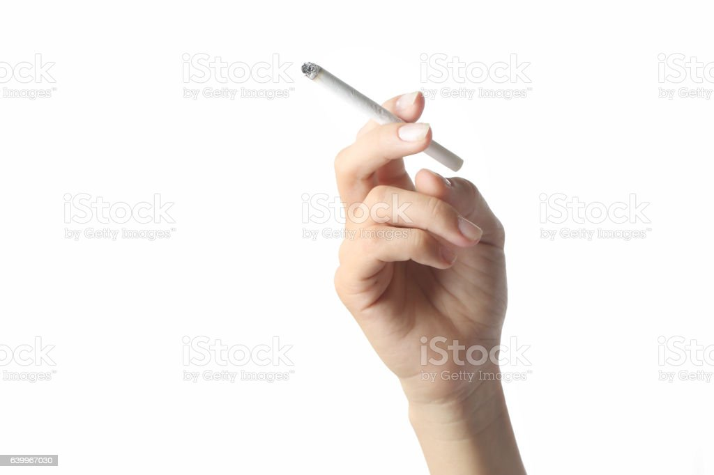 Studio shoot of hand holding a cigarette stock photo