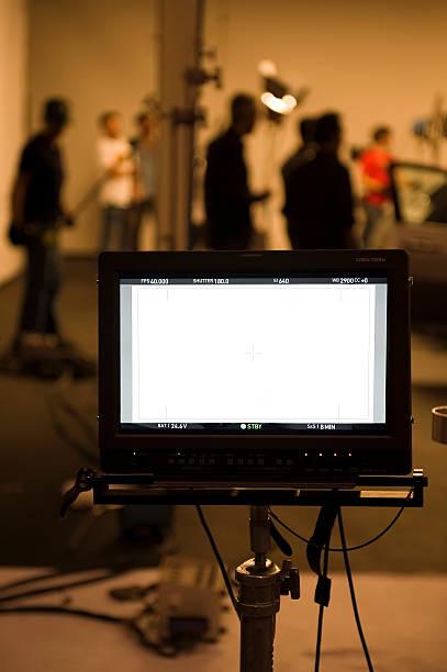 Studio shooting set with monitors stock photo