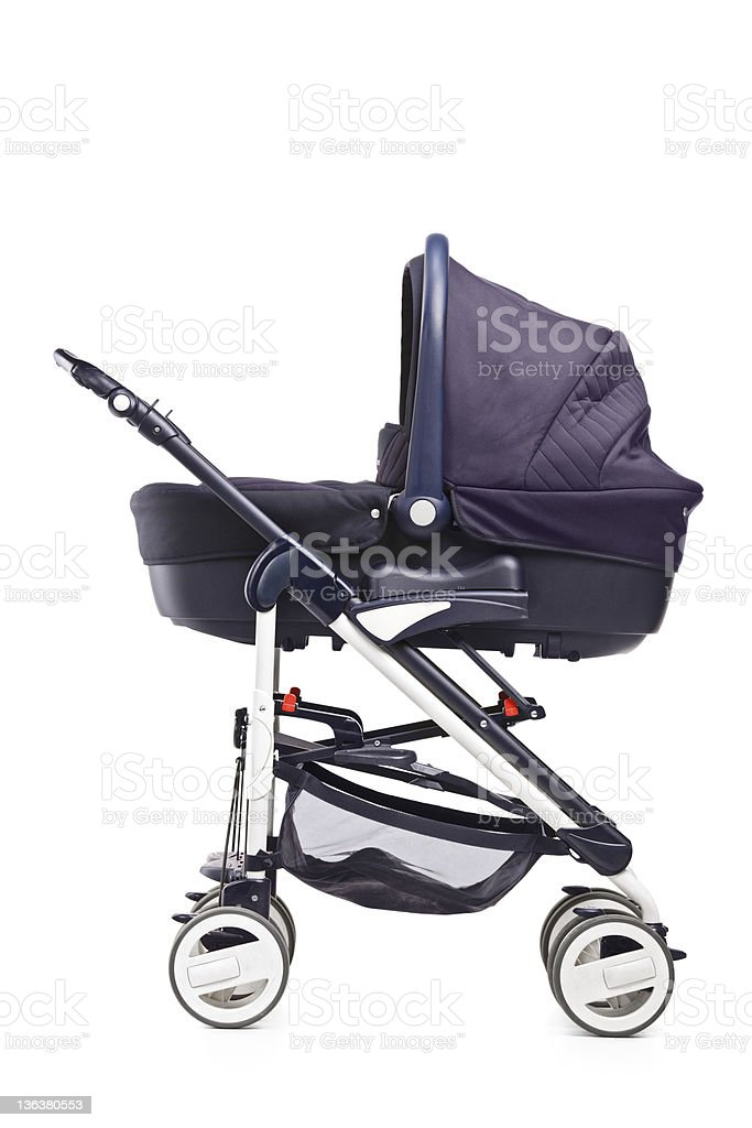 Studio shot of a baby stroller stock photo