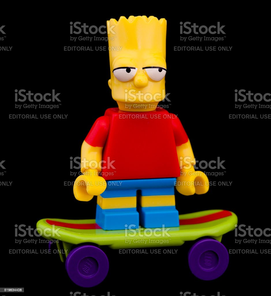 Studio shot of a Lego Mini Figure, Bart Simpson. stock photo