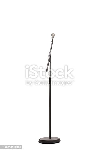 Studio shot of a microphone on a stand isolated on white background