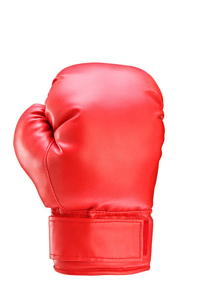 studio shot of a red boxing glove - sports glove stock photos and pictures