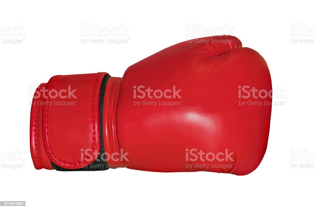 A studio shot of a red boxing glove stock photo