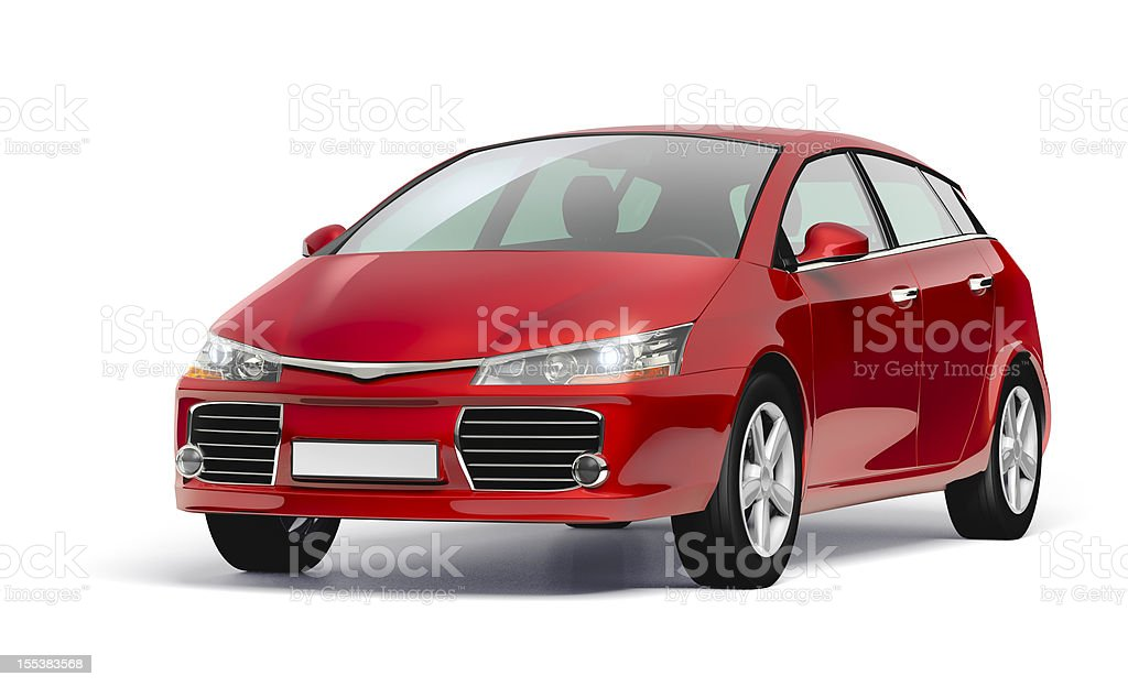 Studio shot of a red modern compact car. stock photo