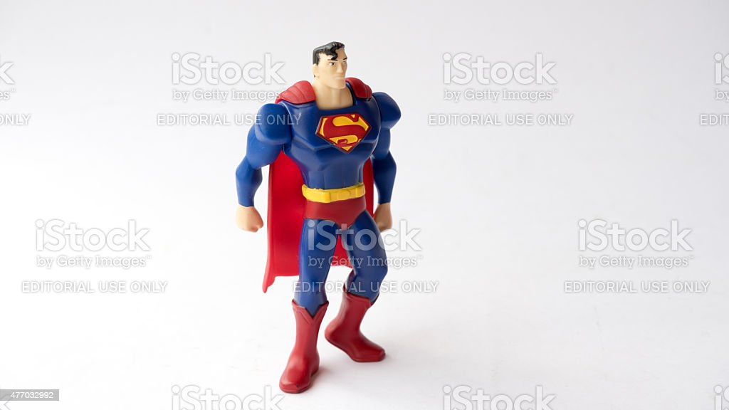 Studio shot of a Superman figurine from DC Comics Movies stock photo